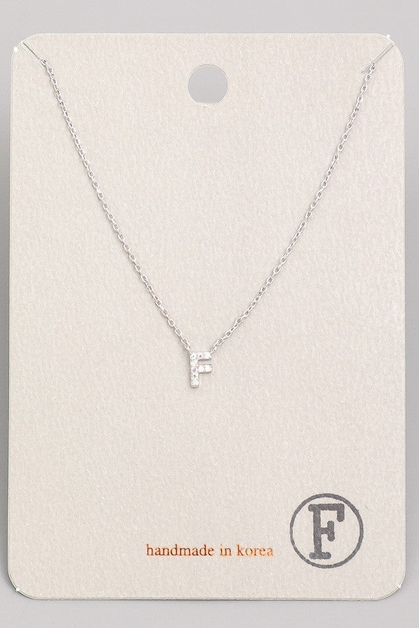 DAINTY INITIAL JEWEL PENDANT SILVER NECKLACE