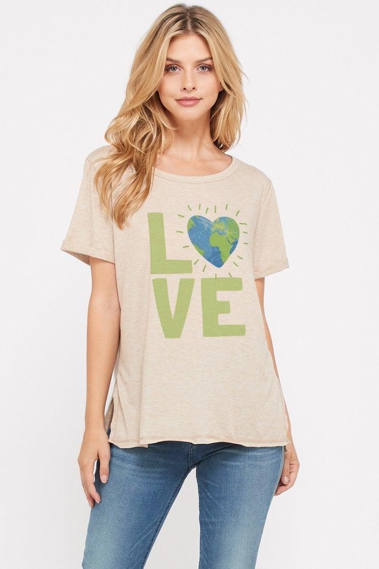 PHIL LOVE EARTH LOVE SHORT SLEEVE TOP