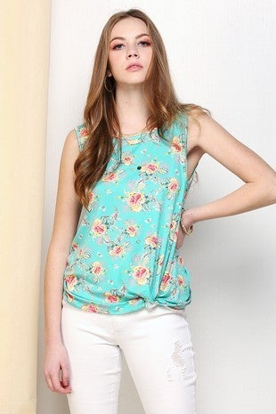 FLORAL Knotted Hem Sleeveless Round neck TOP