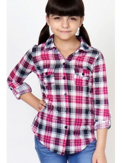 Girl's Knit Plaid Shirt w/ Double Pockets