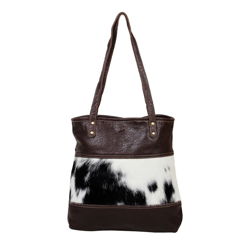 FURRED LEATHER AND HAIRON BAG