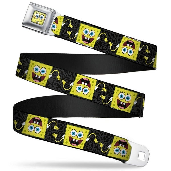 BUCKLE DOWN SEATBELT BELT - SPONGEBOB POSE FLIP/CAMO GRAY/BLACK