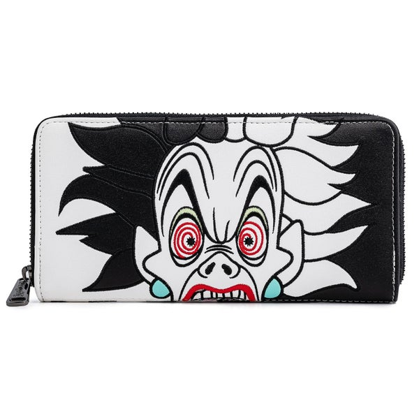 LOUNGEFLY DISNEY VILLAINS CRUELLA DE VIL DALMATION SPOTS COSPLAY FAUX LEATHER ZIP AROUND WALLET (PRE-ORDER, MAY 2021)