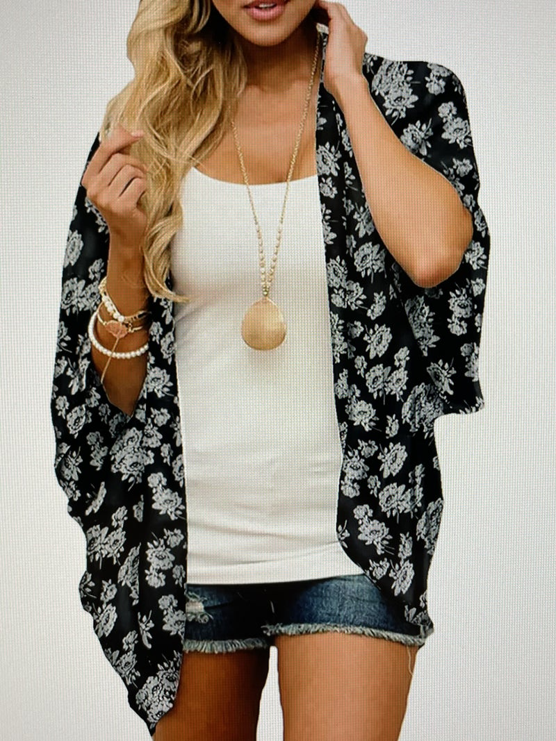 BLACK FLORAL CHIFFON BEACH COVER UP
