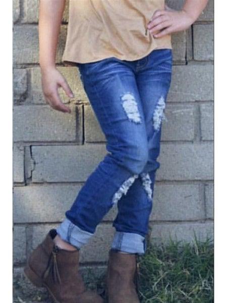 Girl's Yummy Wash Stretch Jeans w/ Distressed & Wide Cuff