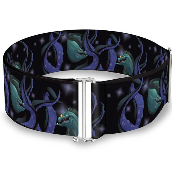 BUCKLE DOWN CINCH WAIST BELT - FLOTSAM & JETSAM SWIMMING IN URSULA'S TENTACLES BLACK PURPLES