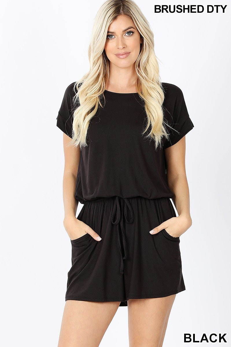 BRUSHED DTY ROMPER WITH POCKETS