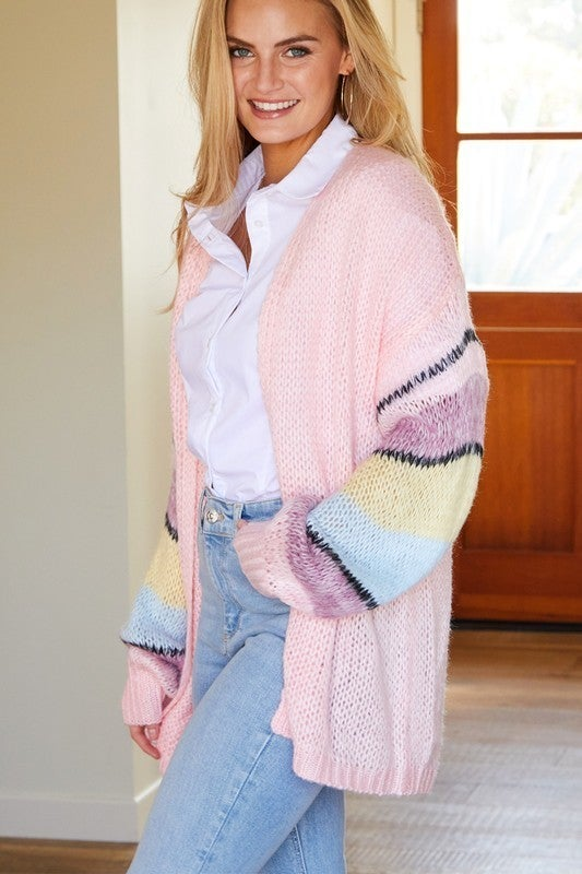 Knit Cardigan with Striped Sleeve Details