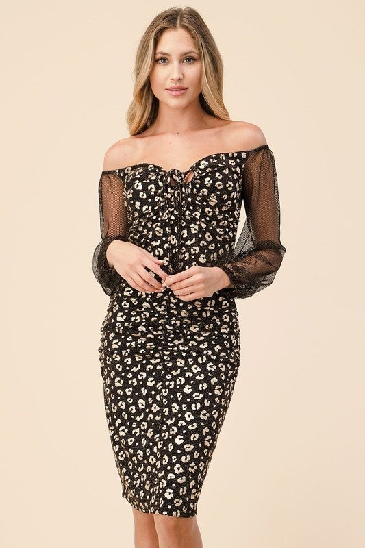 OFF THE SHOULDER RUCHED DOTTED MINI DRESS