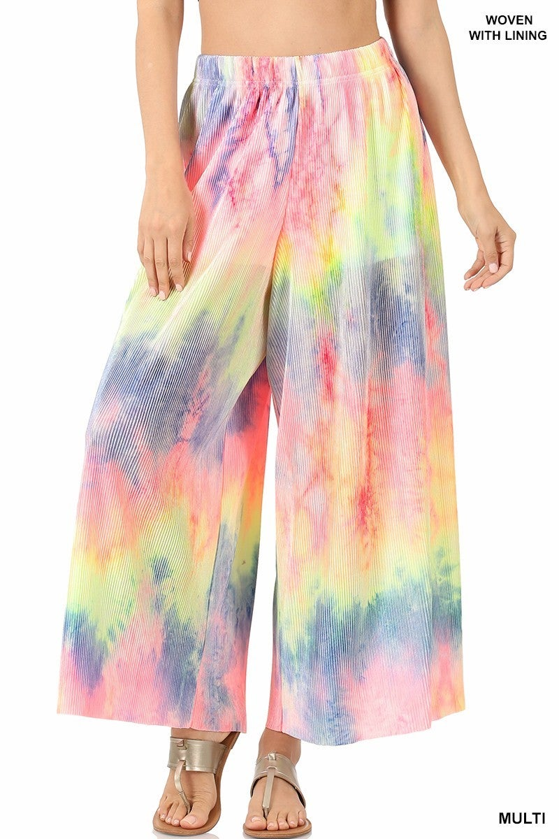 ZENANA WOVEN TIE DYE RIBBED WIDE LEG PANTS WITH LINING