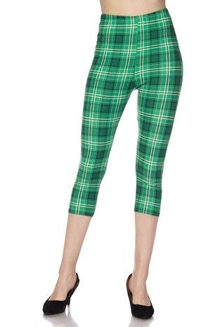 Green Plaid Print Buttery Capri Leggings