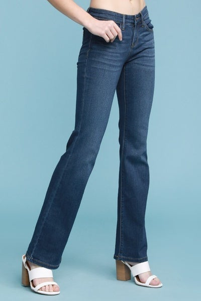 JUDY BLUE MID-RISE RAYON BOOTCUT DENIM - DARK WASH