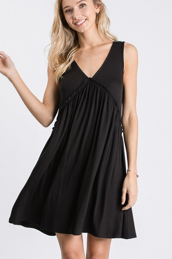 SLEEVELESS V NECK SOLID DRESS WITH RUFFLED DETAIL