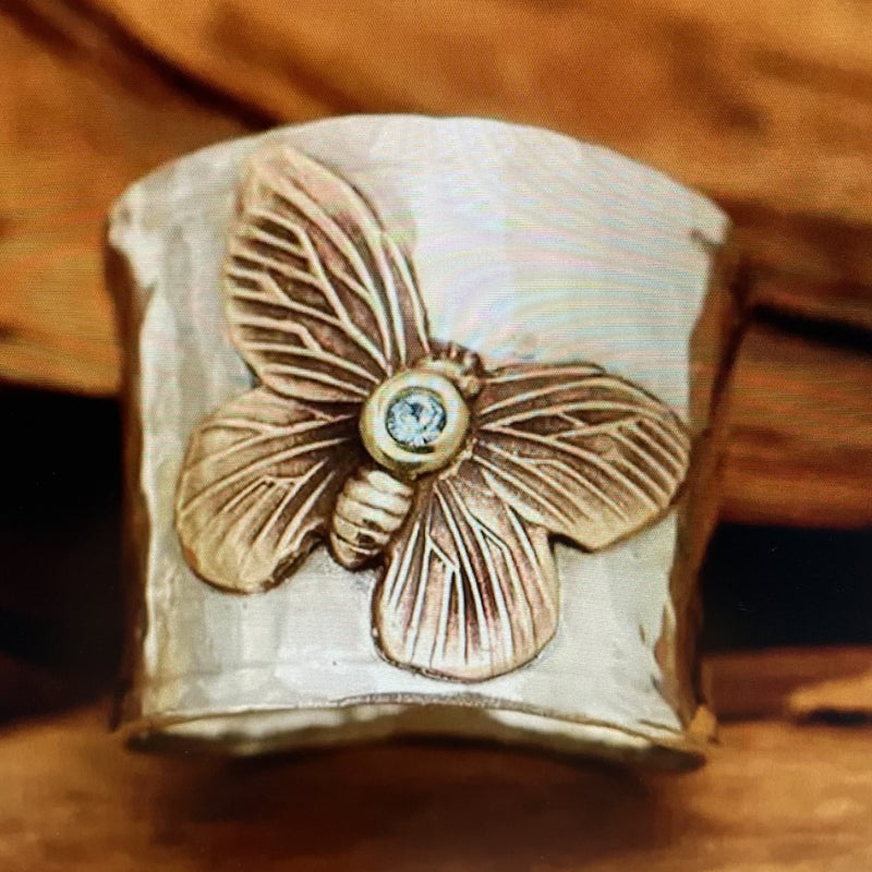 Silver Retro Butterfly Ring