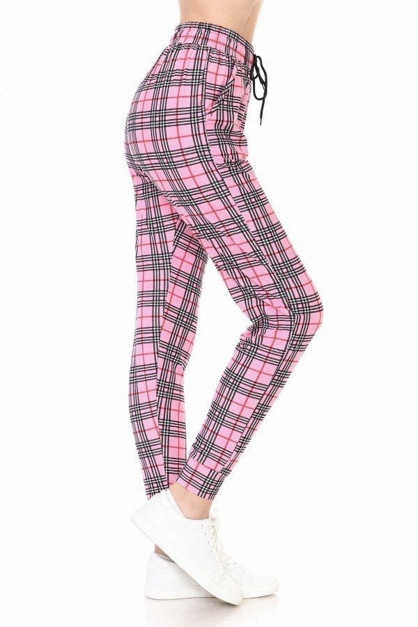 PINK PLAID BUTTERY SOFT JOGGERS