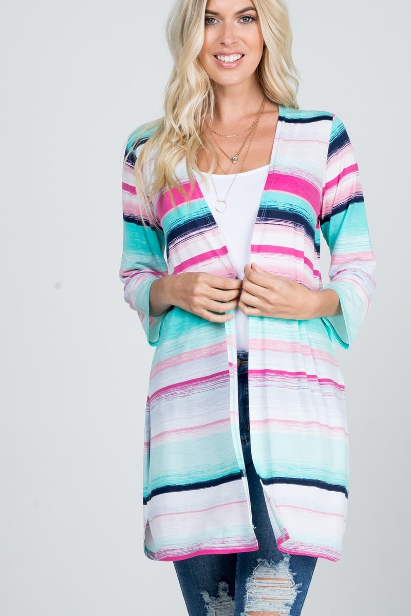 THREE QUARTER SLEEVE MULTICOLOR STRIPE PRINT KIMONO CARDIGAN