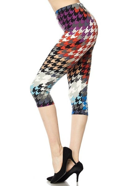 Colorful Houndstooth Print Capri Leggings