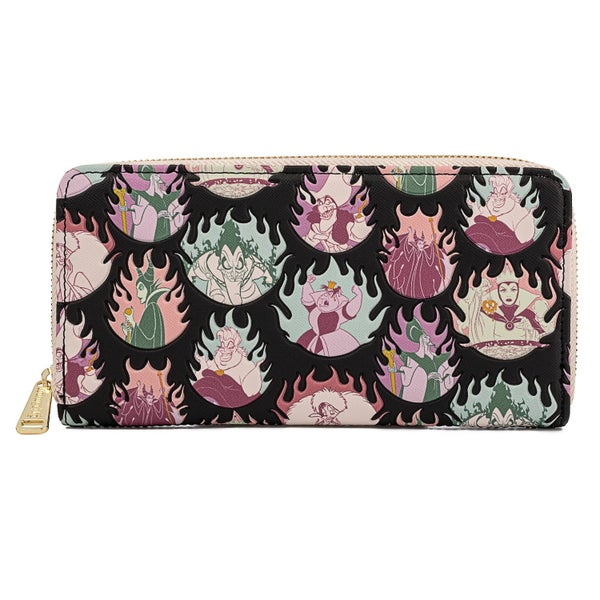 LOUNGEFLY DISNEY VILLIAINS PASTEL FLAMES AOP ZIP AROUND WALLET (PRE-ORDER, MAY 2021)