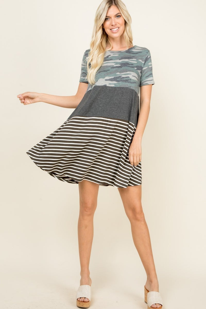 PARTIALLY CAMO AND STRIPED SHORT SLEEVE DRESS