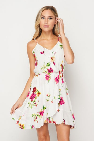 Ruffle Wrap Style Floral Asymmetrical Swing Dress