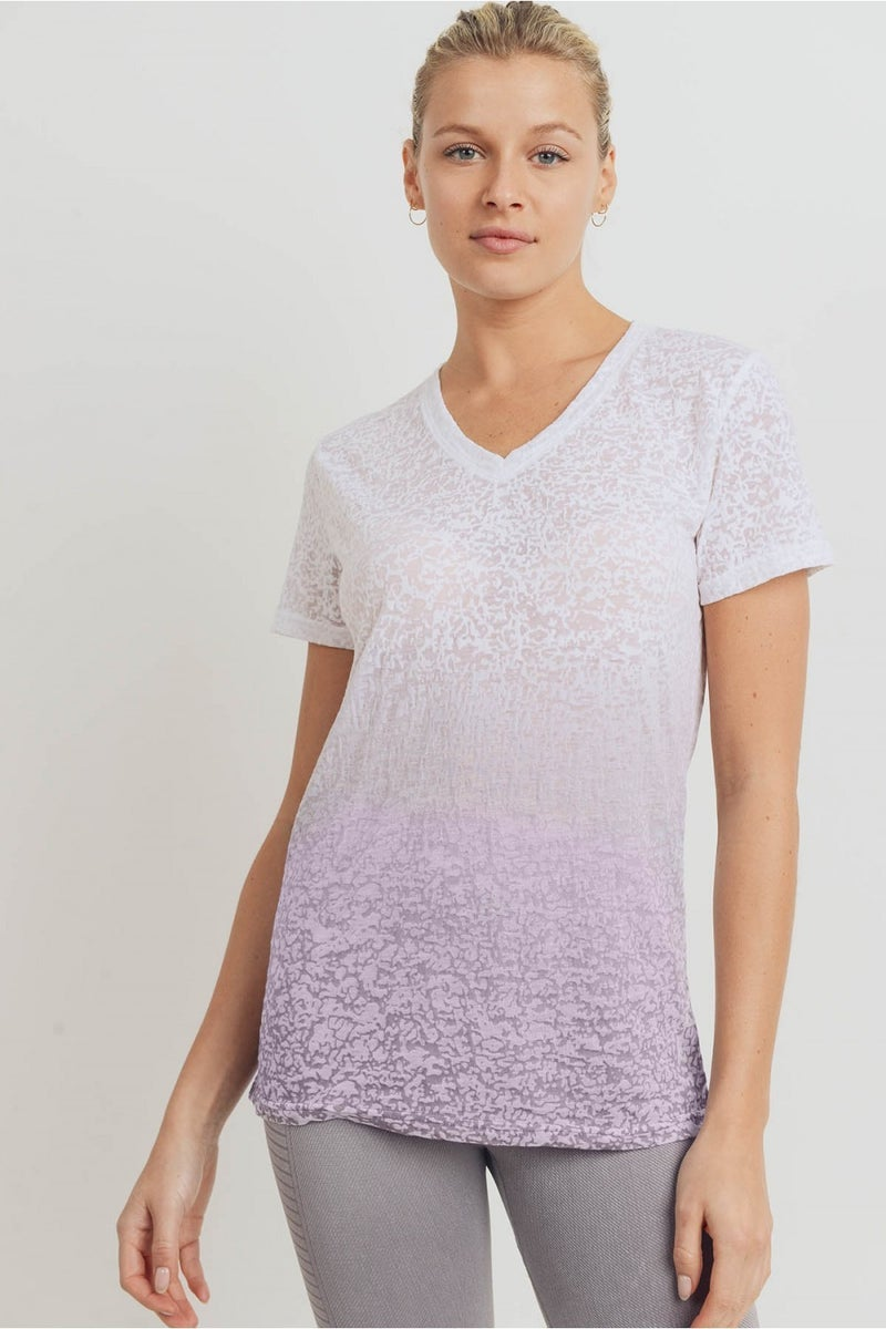 MONO B Burnout Ombre V-Neck Tee