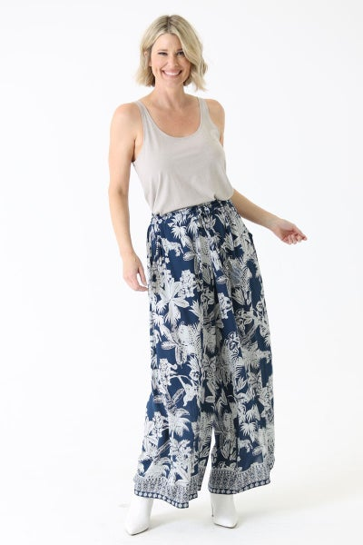 WIDE LEG PANTS WITH TROPICAL PRINT