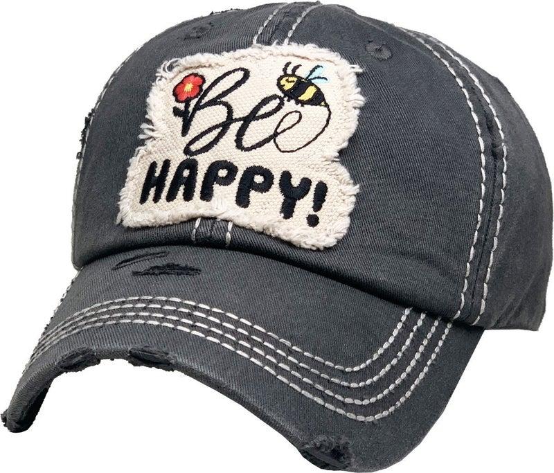 BE HAPPY VINTAGE BALLCAP