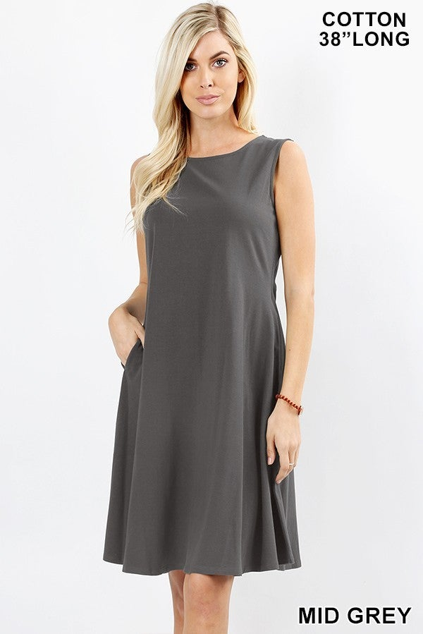 PREMIUM COTTON SLEEVELESS CLASSIC A-LINE DRESS WITH SIDE POCKETS