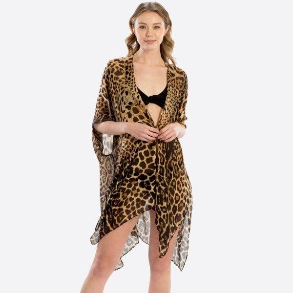 Lightweight Sheer Leopard Print Kimono
