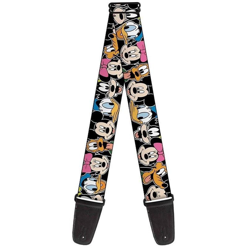 BUCKLE DOWN GUITAR STRAP - CLASSIC DISNEY CHARACTER FACES BLACK