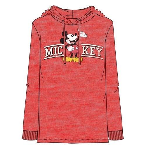 DISNEY Adult Men's Mickey Curve Lightweight Hoodie, Cherry Red