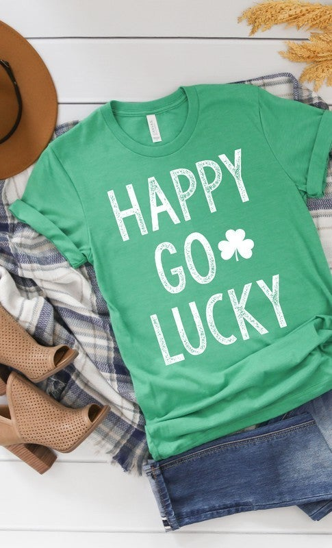 Happy Go Lucky White Ink Shamrock GRAPHIC TEE