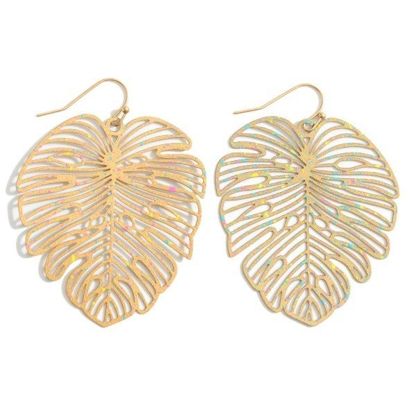 Filigree Tropical Leaf Earrings Featuring Paint Splatter Details