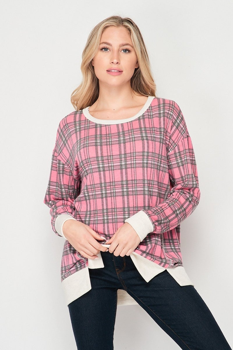 HONEYME PLAID TOP