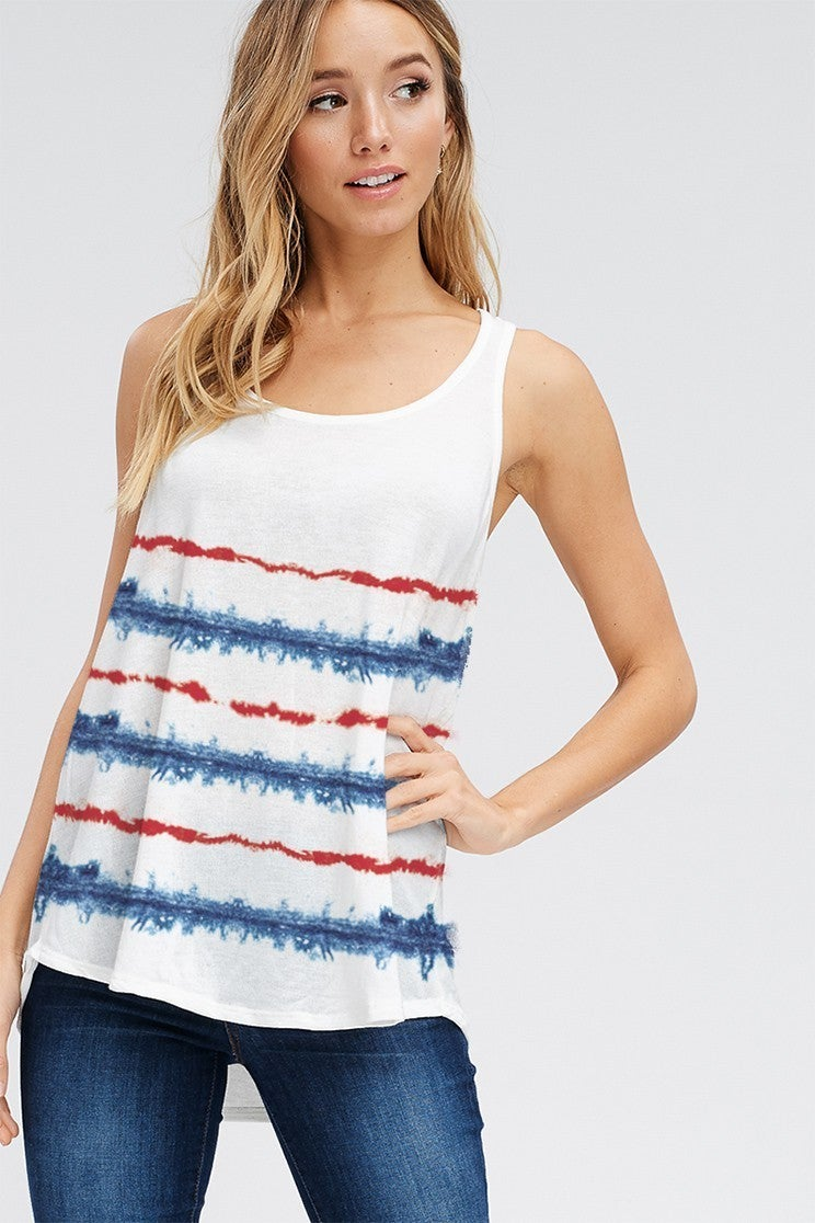 PHIL LOVE TIE DYE STRIPE TANK TOP