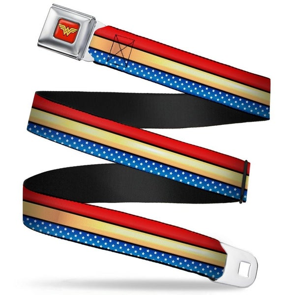 BUCKLE DOWN SEATBELT BELT - WONDER WOMAN STRIPE/STARS RED/GOLD/BLUE/WHITE