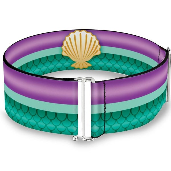 BUCKLE DOWN CINCH WAIST BELT - LITTLE MERMAID STRIPE SHELL PURPLE GREEN GOLD