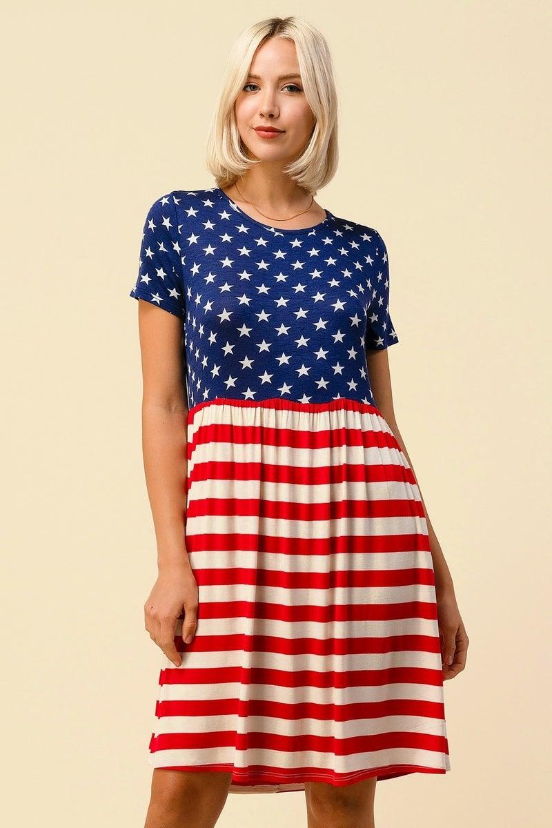 AMERICAN FLAG PRINT SWING DRESS