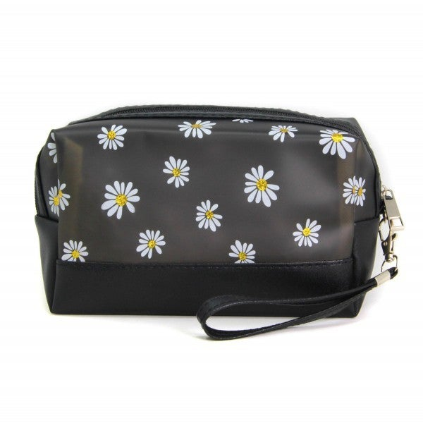 Faux Leather Flower Print Travel Pouch with Detachable Wristlet