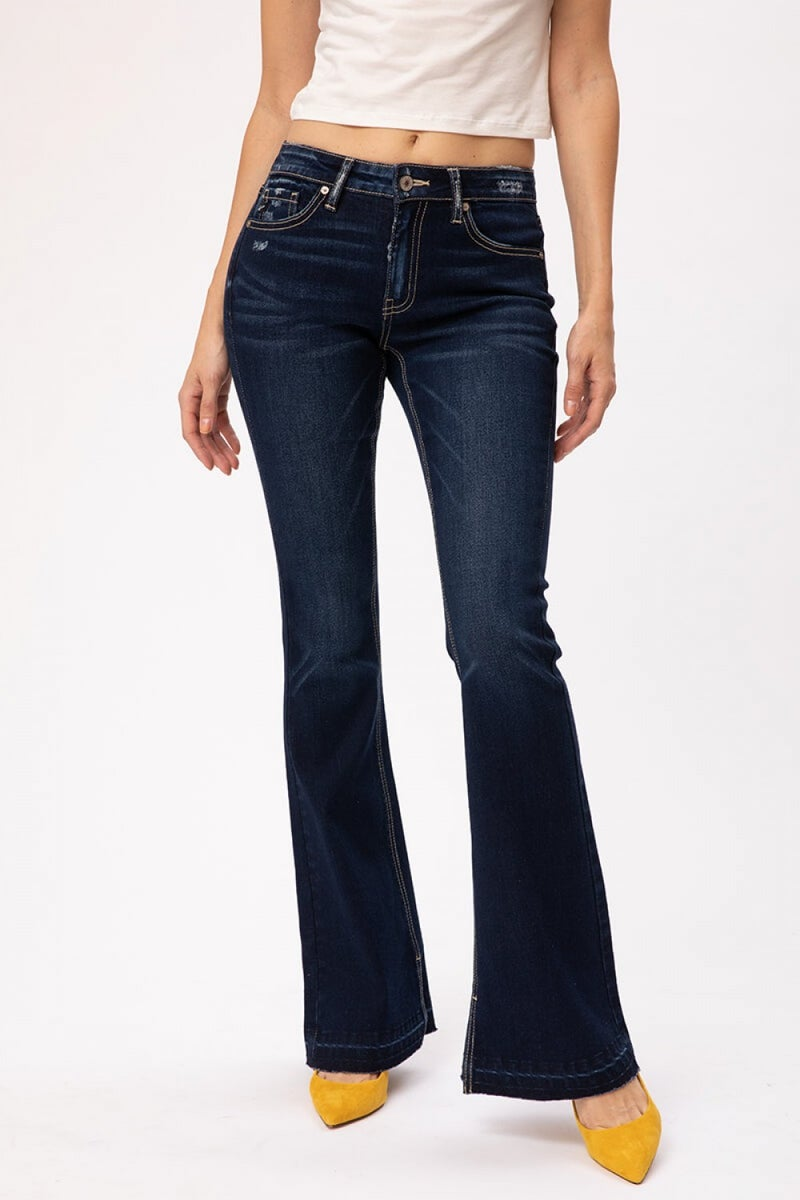 MID RISE HEM DETAIL FLARE DENIM - DARK WASH