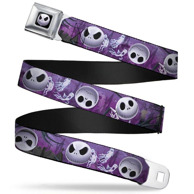 BUCKLE DOWN SEATBELT BELT - JACK EXPRESSIONS/GHOSTS IN CEMETERY PURPLES/GRAYS/WHITE
