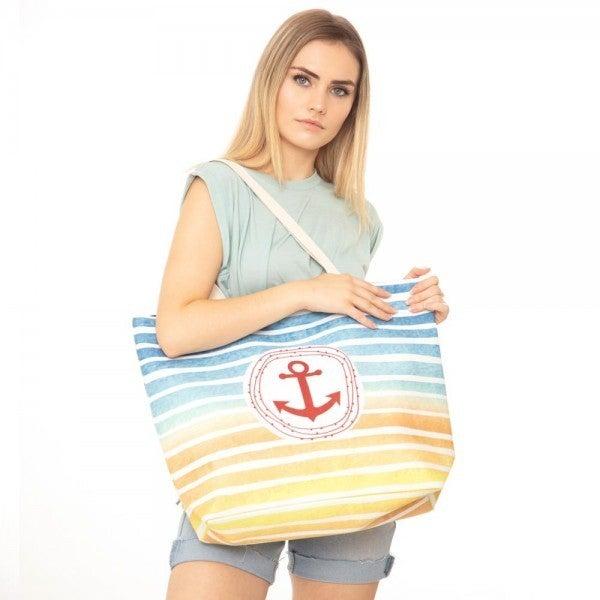 Multicolor Striped Anchor Print Canvas Tote Bag