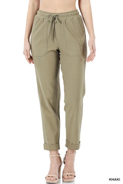 COTTON DRAWSTRING WAIST ROLLED HEM PANTS