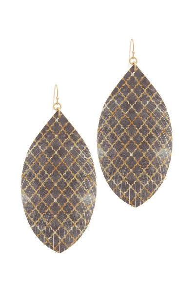 GREY PATTERN DROP EARRINGS