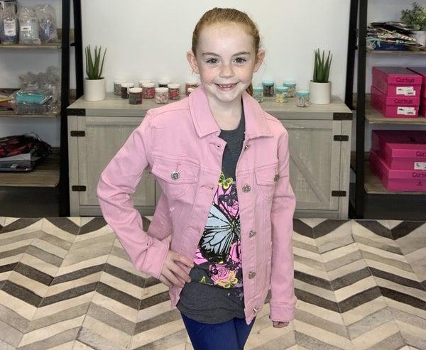 Girl's Basic Wash Bulk Denim Jacket