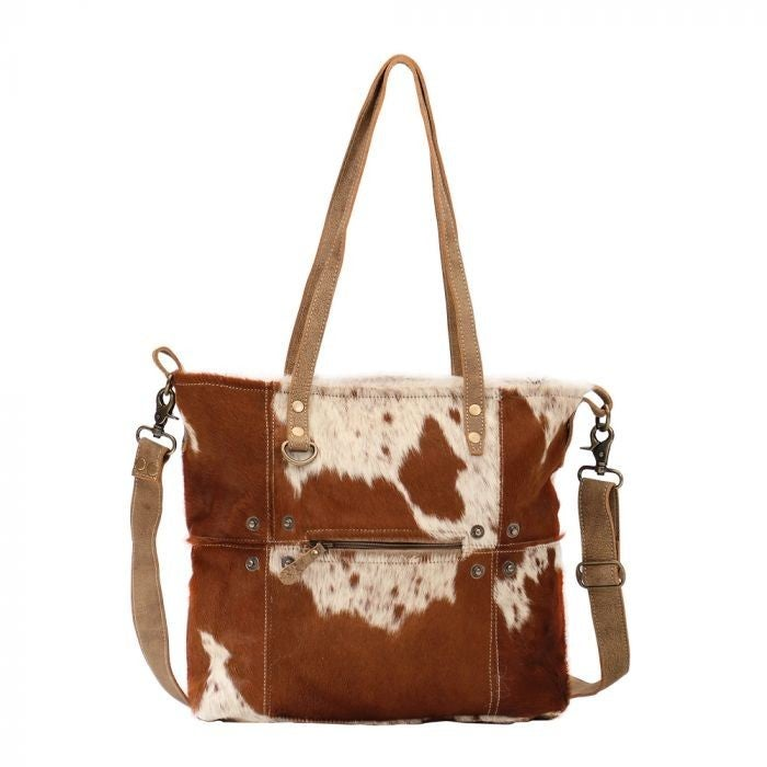 Myra Bag Camel Upcycled Canvas & Cowhide Tote Bag