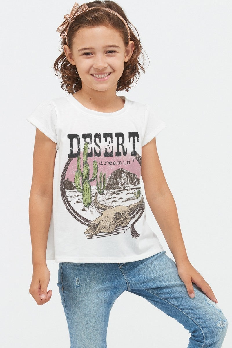 PHIL LOVE Kids Desert Cactus Skull Short Sleeve Top