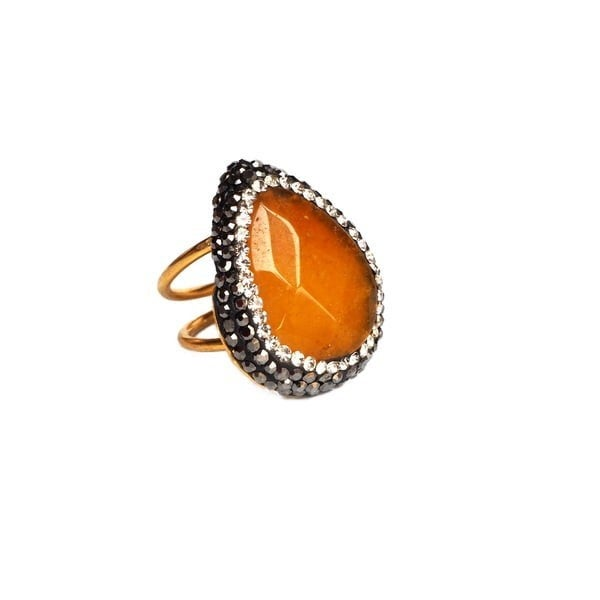 STONE RINGS WITH PAVE - GOLD