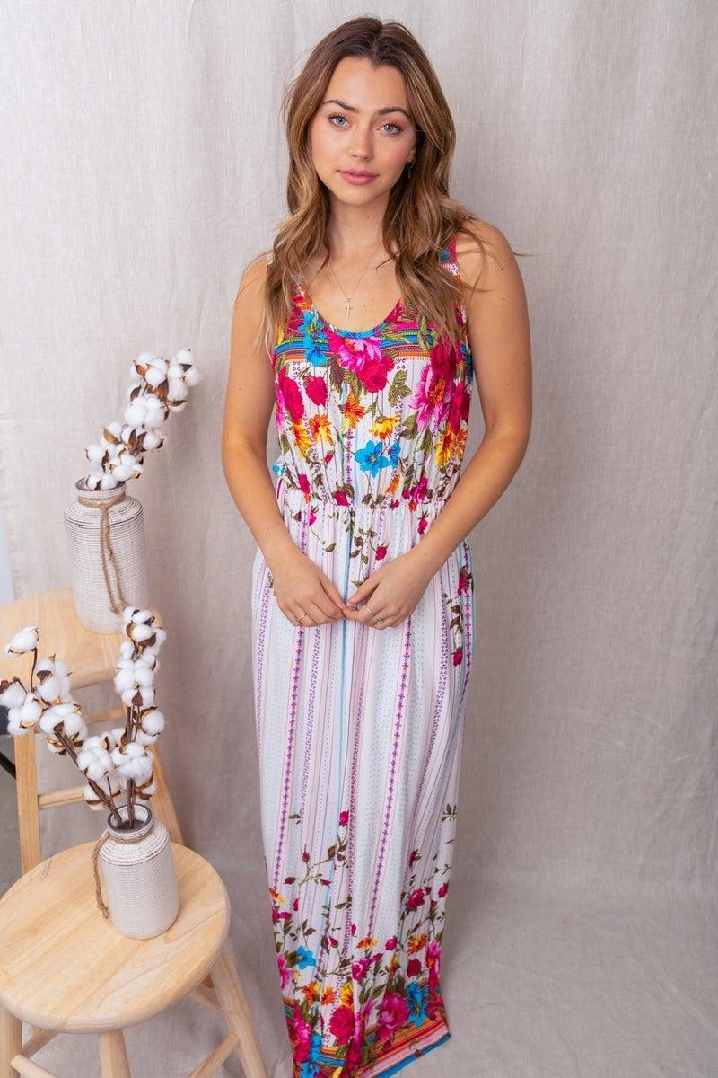 WHITE BIRCH Sleeveless Floral Print Knit Dress