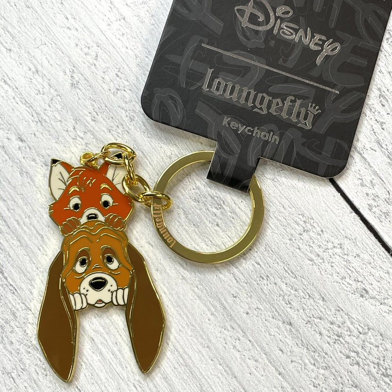 LOUNGEFLY DISNEY FOX AND THE HOUND COPPER AND TODD KEYCHAIN